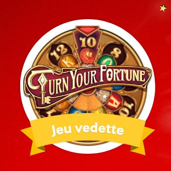 Bénéficiez des tours gratuits en jouant sur Mycasino.ch à Turn Your Fortune